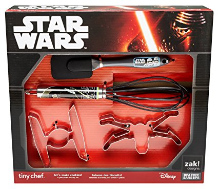 Zak! Designs Tiny Chef Cookie Baking Set Featuring Graphics from Star Wars The Force Awakens, Includes 2 Cookie Cutters, Whisk and Spatula, BPA-free, 4 piece Set