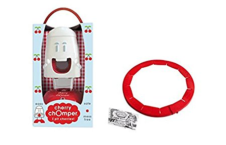 Talisman Designs, Cherry Chomper Cherry Pitter with Adjustable Pie Crust Shield BPA-free Silcone, Red