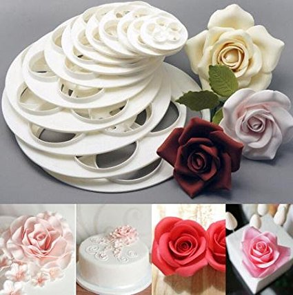 Cookie Cutters Plastic Fondant Rose Flower Decorating Cookie Mold Gum Cake Sugarcraft Paste Cutter Tool 1 Set of 6pcs (1)