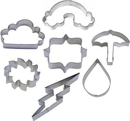 7 Piece Weather Cookie Cutter Set Rainbow Sun Rain Drop Cloud Umbrella