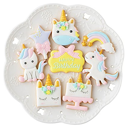 Mini Fantasy Unicorn Cookie Biscuit Fondant Cake Mold - Set of 16 - 8Pcs Cookie Cutter and 8Pcs Cookie Stencils, Include Unicorn Head, Unicorn, Plaque Frame, Magic Wand and Rainbow