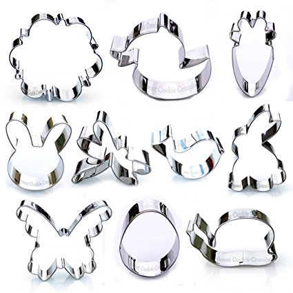Easter Spring Cookie Cutter Set - 10 Piece Stainless Steel