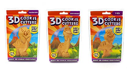 Just For Laughs 3D Cookie Cutters, Dinosaurs 3-pack (Triceratops, Brontosaurus, T-Rex)