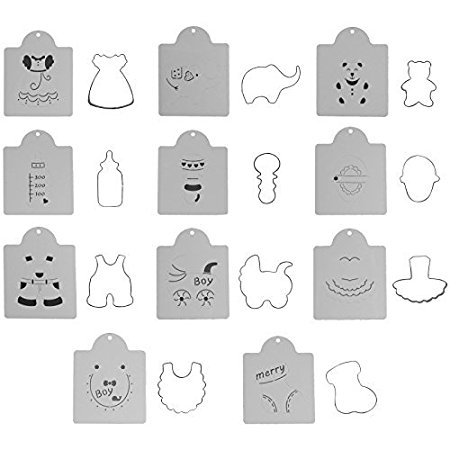 Musykrafties Baby Shower Children Birthday Cookie Cutter with Stencil Set 22-piece Set