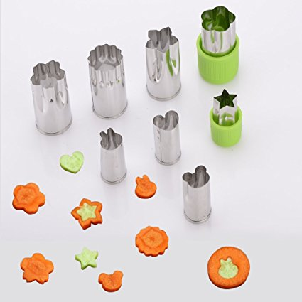 Vegetable Fruit Mold Set,LYASI 18/8 Stainless Steel Bread Sandwich Mold Vegetable&Fruit Cheese Cookie Cutters Shapes Set for Kids Toast Lunch,Heart/Star/Flower/Rabbit/ Bear Appetizers(8 piece)