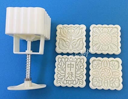 Giftshop12 Mooncake Mold Traditional White Square Cookie Cutter Mold 125g