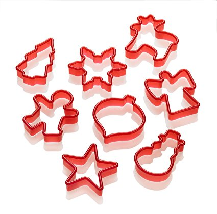 Lurch Germany 8-Piece Christmas Cookie Cutters, Red
