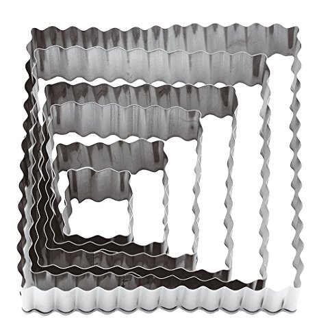 Paderno World Cuisine Square Fluted Dough Cutters, 6-Piece Set